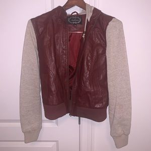 Red leather and grey jacket